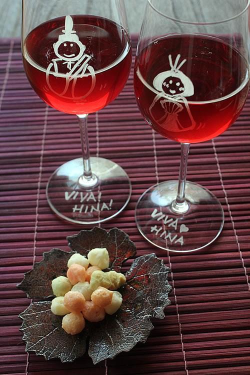 ひなまつり、グラスにお絵かき&メッセージ